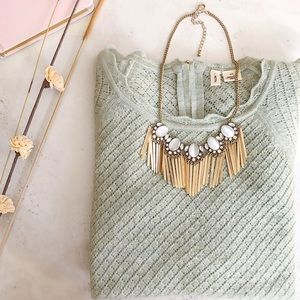 Jewelry - Golden & Opal Fringe Statement Necklace